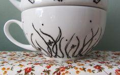 Custom teapot - close up of grass design on teacup