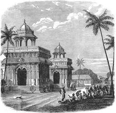 INDIA: The Palace of Thanjavur c1880 old antique vintage print picture