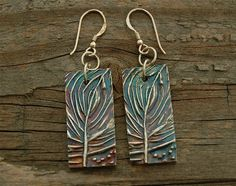 silver earrings tree earrings abstract made in america by lynncobb, $55.00