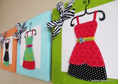 'Dress-up Wall Canvas tutorial' This is such a cute and fun idea~great for kids or teen rooms, craft room decor, or as gifts. Do this in the sewing room Teen Room Crafts, Craft Room Decor, Wall Decor, Craft Rooms, Cute Crafts, Diy Crafts, Craft Projects, Sewing Projects, Craft Ideas