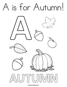 a is for autumn coloring page twisty noodle