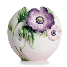 Franz Porcelain Collection Anemones Design Sculptured Porcelain Mid Size Vase