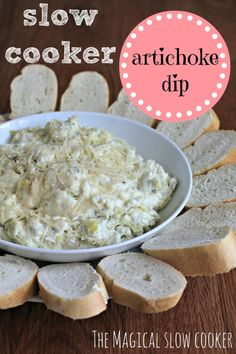 It's not a party unless there's ooey gooey hot slow cooker artichoke dip! I whipped together this artichoke dip in no time