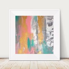 Large Pink And Gold Painting Teal Grey Metallic Abstract Blue Metal Wall Art Decor