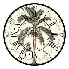 Art Print: Antique Palm Clock Wall Art by Vision Studio : Clock Art, Diy Clock, Clock Decor, Wall Clocks, Clock Flower, Decoupage, French Clock, Handmade Clocks, Framed Artwork