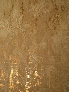 A little metallic background peeking out behind the embedded plaster finish. Pretty. by Karen Kratz-Miller