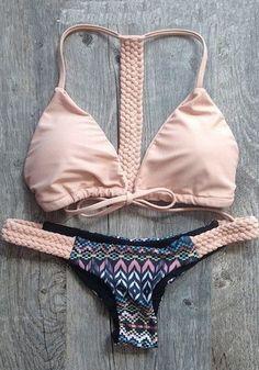 Love Pink + Black! Really Love the Braiding! Pink Floral Shoulder-Strap 2-in-1 Drawstring Bikini Swimwear #Pale #Pink #Blush #Black #Braided #Bikini #Swimwear #Summer #Beach #Fashion #Style