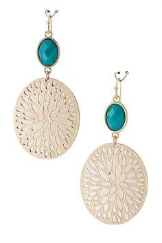 Filigree Medallion Earrings - Turquoise, $9.00