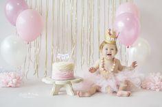 Okinawa Child Photographer, Okinawa, Japan, Cake Smash Session, First Birthday, Pink Ruffle Cake, Pink and Gold, La La Noble Photography