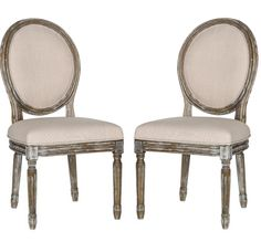 Safavieh Home Collection Holloway French Brasserie Beige Linen & Rustic Oak Oval Side Chair (Set of Linen Dining Chairs, Dining Chair Set, French Country Dining Chairs, French Style Chairs, Wooden Chairs, Upholstered Chairs, Dining Tables, Side Chairs, Lounge Chairs