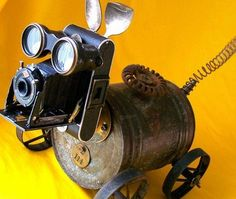 Mitzy the Rolling Robot Dog is actually more of a Steampunk dog, but it is truly adorable