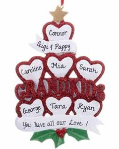 Buy Personalized Grandkids Hearts 7 - Grandparents Ornaments, Grandparents Christmas Ornaments - Ornament Shop