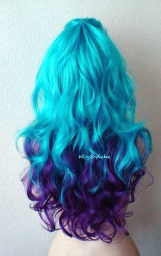 """Keke-Wig by 2015 Color: Deep Purple / Teal Blue Hair style: Long curly hair Part: The center can be separated to the left or right side Circle Length: 26 """"Cap Size: Adjust 225 on average to 2223 Can """"Net weight: 9 Oz Hair type: - Ombre Hair Blue Ombre Wig, Purple Wig, Ombre Wigs, Deep Purple, Purple Teal, Blue Wig, Cute Hair Colors, Pretty Hair Color, Ombre Hair Color"""