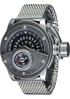 Retrowerk Jump Hour Compass Raw Steel Mesh