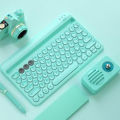 Pastel Color Chargeable Wireless Bluetooth Keyboard for Phone and iPad – -Juwas Bluetooth Keyboard, Computer Keyboard, Tech Gadgets, Cool Gadgets, Technology Gadgets, Accessoires Ipad, Gaming Room Setup, Ipad Accessories, Pastel Colors