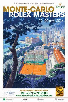 網球場的路上。To The Tennis Court: 網球與海報 - Tennis x poster: Monte-Carlo Rolex Masters 2015 poster by Andrew Davidson