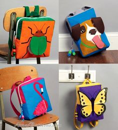 Child Book Bag Backpack Sewing Pattern Beetle Dog Butterfly Flamingo Boy Girl Kids Tote 6808