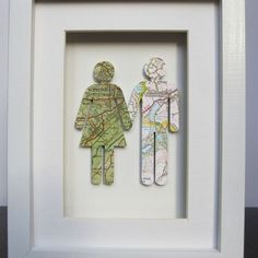 """Where We're From"" map figures. Perfect for the home you share with your significant other."