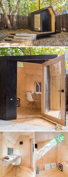 Black stained cedar and natural pine plywood make up the exterior and interior of this home office located on a concrete plinth in the backyard of a townhome.