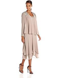 S.L. Fashions Women's Embellished-Shoulder and Neck Jacket Dress