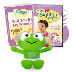 This set makes the perfect baby shower gift! Includes:  Baby Signing Time DVD + CD: Let's Be Friends Baby Signing Time Book: Will You Be My Friend? Baby Hopkins Plush