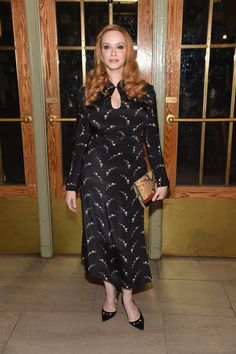 Christina wore a printed black number at Zac Posen, making her red hair really stand out.