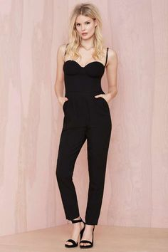 Nasty Gal Pitch Dark Sweetheart Jumpsuit   Shop Rompers + Jumpsuits at Nasty Gal