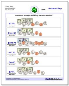 Counting money worksheets, including PDF practice printables for counting and calculating coins and bills. Realistic images, like everything just came out of your pocket. Thousands of other free math printables. Click through to view and practice! Making Change Worksheets, Counting Money Worksheets, Free Printable Math Worksheets, 1st Grade Math Worksheets, Subtraction Worksheets, Money Activities, Printables, Touch Point Math, Counting Coins