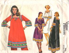 Vogue 1522 Misses Loose Fitting Pullover CAFTAN Dress and Top womens vintage sewing pattern by mbchills Random Pattern, Top Pattern, Caftan Dress, Vogue Patterns, Bias Tape, Caftans, Vintage Sewing Patterns, 1970s, Bell Sleeves