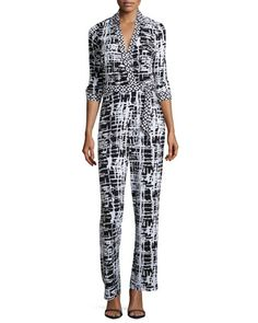 Printed Wrap Jumpsuit, Black/White by 5twelve at Neiman Marcus Last Call.