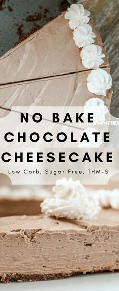 No Bake Chocolate Cheesecake is a delicious and easy dessert thats low carb sugar-free and THM-S. The post No Bake Chocolate Cheesecake is a delicious and easy dessert thats low carb su appeared first on Orchid Dessert. Mini Desserts, Sugar Free Desserts, Sugar Free Recipes, Thm Recipes, Dessert Recipes, Healthy Recipes, Paleo Dessert, Cookbook Recipes, Desert Recipes