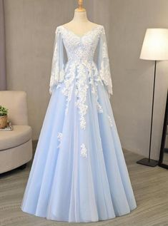 V Neck Light Blue Tulle Prom Dress Lace Appliques A-line Eve.-V Neck Light Blue Tulle Prom Dress Lace Appliques A-line Evening Gowns V Neck Light Blue Tulle Prom Dress Lace Appliques A-line Evening Gowns - Inexpensive Wedding Dresses, Elegant Party Dresses, Affordable Bridesmaid Dresses, Cheap Prom Dresses, Cute Dresses, Quinceanera Dresses, Sexy Dresses, Short Dresses, Best Prom Dresses