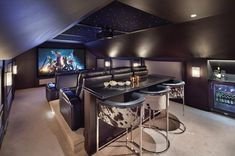 Great Spaces: A Killer Home Theater - Arlington Magazine - Home Cinéma Movie Theater Rooms, Home Cinema Room, Home Theater Setup, Home Theater Seating, Home Theater Design, Attic Theater, Theater Room Decor, Home Theatre Rooms, Movie Rooms