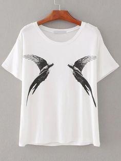 T-shirt blanc d'impression d'oiseaux-French SheIn(Sheinside)