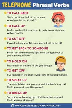List of English Telephone Phrasal Verbs – English Lesson via Skype Telephone Phrasal Verbs. Learn English phrasal verbs in context. Teaching English Grammar, English Writing Skills, English Language Learning, American English Grammar, Learning English Online, Teaching French, German Language, Teaching Spanish, English Sentences