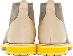 Junya Watanabe: Grey & Beige Lace-Up Ankle Boots