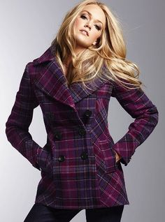 Victorias Secret Double-breasted Plaid Peacoat. LOVE the colors!!! So cute! $110