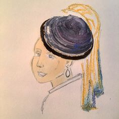 #girlwithpearlearring #artwork #hat #earring #pearl #drawing #painting #art #fashion #design #shells #shell #classic