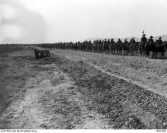 Syria: Damascus, View of the Australian Light Horse Brigade on the march along the Damascus-Homs road, passing through the Duma district. World War One, Palestine, Damascus, Syria, 3 Things, Wwi, Lebanon, Egypt, Photos