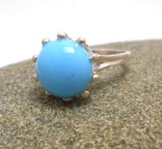 Turquoise Colored Glass Gemstone Sterling Silver Ring by jewelrybymatt on Etsy