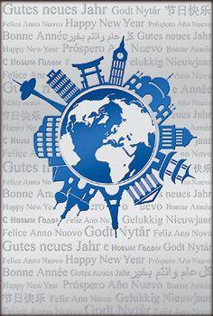 Internationale #Weihnachtskarte mit #Weltkugel