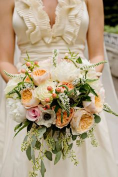 Large pink and peach wedding bouquet