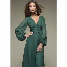 Sexy Deep V-neck Summer Long Sleeves Elegant Dresses Chiffon Maxi Dress, Dress Skirt, Maxi Dresses, Wedding Dresses, Bridesmaid Gowns, Wrap Dresses, Elegant Dresses, Beautiful Dresses, Sewing Dress