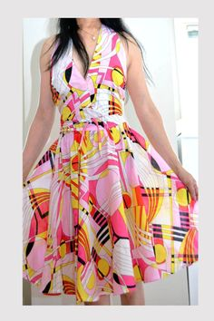 This head-turning two-piece modern dress is one-of-a-kind! It's sexy, fun and colorful!