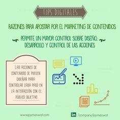 #TipsDigitales Razones para apostar por el marketing de contenidos. Permite un mayor control sobre diseño, desarrollo y control de las acciones: Las acciones de contenidos se pueden diseñar para controlar cada paso en  la interacción con el público objetivo. Fuente: PuroMarketing  #MarketingDigital #SocialMedia