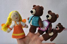 "Muñecos de dedos para la escenificación del cuento ""Ricitos de Oro"" (3 osos y la niña). Crochet finger Goldilocks and the Three Bears."