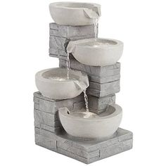 An indoor/outdoor LED fountain features a stacked bowl silhouette with contemporary flair. Style # at Lamps Plus. Cat Fountain, Fountain Design, Indoor Fountain, Garden Water Fountains, Waterfall Fountain, Stone Walkway, Patio Plants, Ponds Backyard, Grey Stone