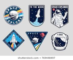 Find Set Space Astronaut Patches Emblems Badges stock images in HD and millions of other royalty-free stock photos, illustrations and vectors in the Shutterstock collection. Thousands of new, high-quality pictures added every day. Tumblr Stickers, Cute Stickers, Badge Design, Logo Design, Camp Scout, Astronaut Images, Space Patch, Badges, Astronauts In Space