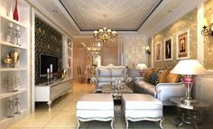 Glamorous And Luxury Livingroom With Shelving Storage Chandelier Awesome Luxury Living Room Design Inspiration Design