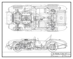 Tony Cairoli has completed his 1966 Shelby Cobra 427 schematic... all hand-drawn.